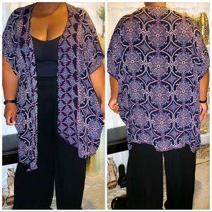 Short Sleeve Blue & Purple Kimono